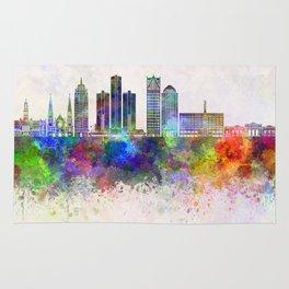 Detroit skyline in watercolor background Rug