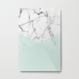 Real White Marble Half Mint Green Shapes Metal Print