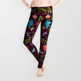Garden Square with Birds & Insects on Dark Plum Leggings