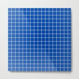 Cobalt blue - blue color -  White Lines Grid Pattern Metal Print