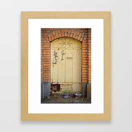 Old Wall and Door and old red Shoes Framed Art Print