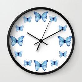 Two Blue Butterflies Watercolor Wall Clock