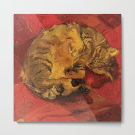 Tabby Cat Sleeping Animal Oil Painting in Vibrant Red Brown Yellow Impressionist Bright Colour Metal Print