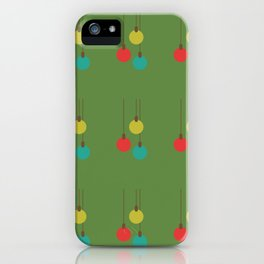 Christmas globes pattern retro colors green background iPhone Case