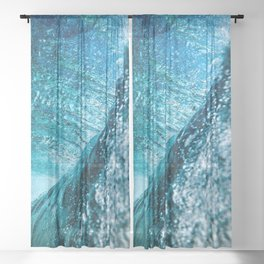 ABSTRACT BLUE WATER Sheer Curtain