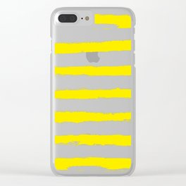 Sunny Yellow STRIPES Handpainted Brushstrokes Clear iPhone Case