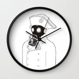 Napoleon with a gas mask. Wall Clock