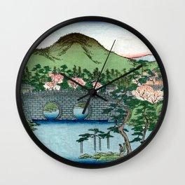 Eyeglass Bridge at Nishi Otani by Hasegawa Sadanobu - Japanese Vintage Ukiyo-e Woodblock Painting Wall Clock