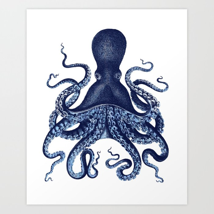 Watercolor blue vintage octopus Kunstdrucke