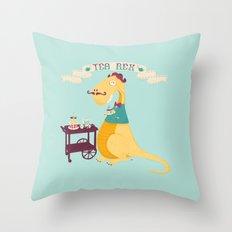Tea Rex Throw Pillow