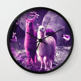 Outer Space Galaxy Cat With Llama Wall Clock