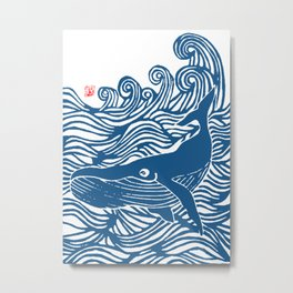Japan Sea Whale Art Lino Metal Print
