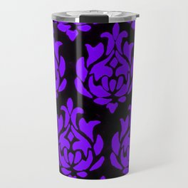 Purple on Black Damask Travel Mug