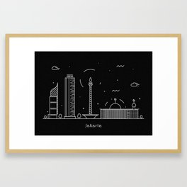 Jakarta Minimal Nightscape / Skyline Drawing Framed Art Print