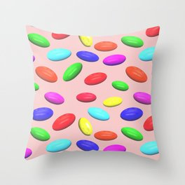Sea stones or multi-colored sweets on a pink background. Throw Pillow