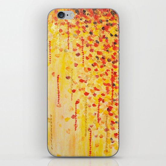 WHEN IT FALLS Bold Autumn Winter Leaves Abstract Acrylic Painting Christmas Red Orange Gold Gift iPhone & iPod Skin