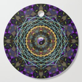 Purple Yin Yang Sacred Geometry Fractals Cutting Board