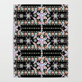 Folkloric Snowflakes Poster