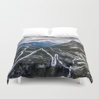 norway Duvet Covers featuring Trollstigen, Norway. by Ar Ling Landscape photography