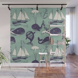Pattern with marine motifs. Yachts, funny whales, carefree sunny voyage. Wall Mural