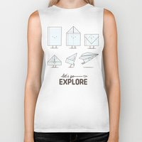 transformer Biker Tanks featuring Let's go explore by I Love Doodle