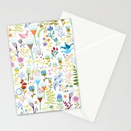 seamless pattern with bright multi-colored decorative flowers on a white background Stationery Cards