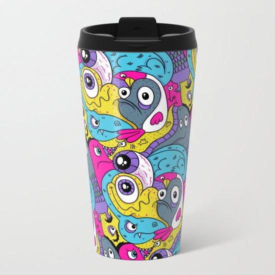 Idiot Bird Pattern Metal Travel Mug