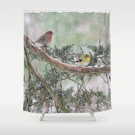 Two Finches in a Snowstorm Shower Curtain