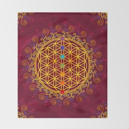 FLOWER OF LIFE, CHAKRAS, SPIRITUALITY, YOGA, ZEN, Throw Blanket