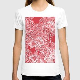 Modern red flame scarlet white hand drawn floral mandala pattern T-shirt
