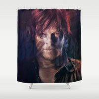 daryl dixon Shower Curtains featuring Daryl Dixon by Guilherme Marconi