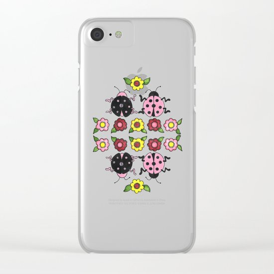 Ladybugs in Pink & Black Clear iPhone Case