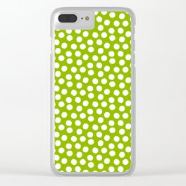 White Polka Dots on Fresh Spring Green - Mix & Match with Simplicty of life Clear iPhone Case