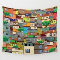 rio de janeiro Wall Tapestries featuring Favela, Rio de Janeiro by Rceeh