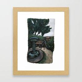 Respite beside a fountain Framed Art Print