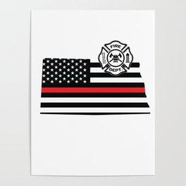 North Dakota Firefighter Shield Thin Red Line Flag Poster
