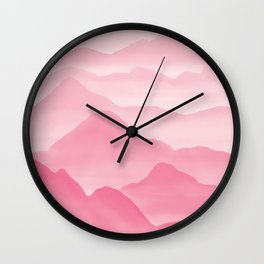Dreamy Candy Hand-painted Watercolor Mountains, Abstract Foggy Mountain Landscape in Blush Rose Pink Color Wall Clock