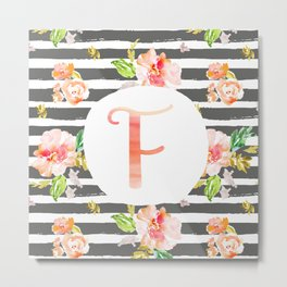 F botanical monogram. Letter initial with colorful flowers and gray stripes Metal Print