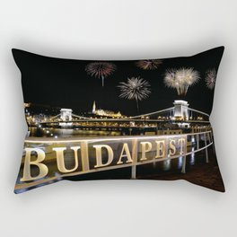 Chain bridge  with fireworks on Budapest city. Rectangular Pillow