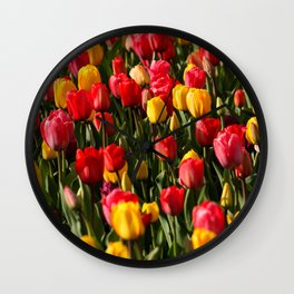Peace, Love And Tulips Wall Clock