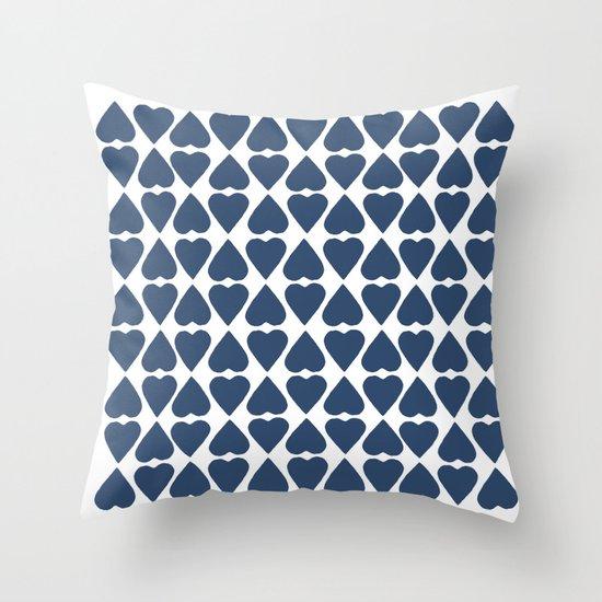 Diamond Hearts Repeat Navy Throw Pillow
