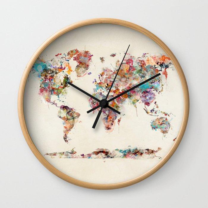 world map watercolor deux Wall Clock