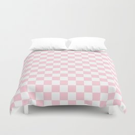 Large Soft Pastel Pink and White Checkerboard Duvet Cover