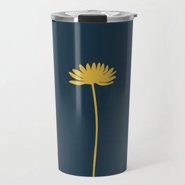 Tall Flower in Mustard Yellow and Navy Blue. Minimalist Modern Floral Travel Mug