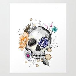BoHo AF Floral Skull Art Print