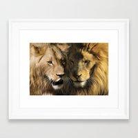 lions Framed Art Prints featuring Lions by Julie Hoddinott