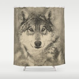 Timber Wolf Pencil Illustration Shower Curtain