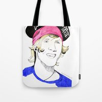 mcfly Tote Bags featuring Dougie the pirate (McFly) by Mariam Tronchoni