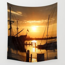 Boat Sunrise 1 Wall Tapestry