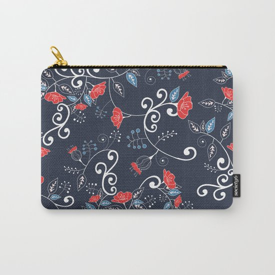 Floral Blue Carry-All Pouch